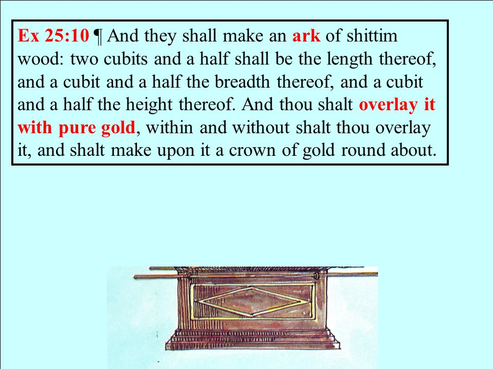 Ex 25:10 ¶ And they shall make an ark of shittim wood: two cubits and a half shall be the length thereof, and a cubit and a half the breadth thereof, and a cubit and a half the height thereof.