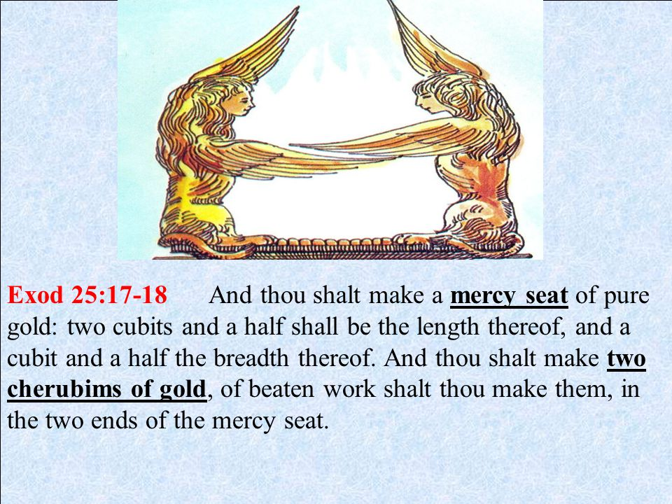 Exod 25:17-18 And thou shalt make a mercy seat of pure gold: two cubits and a half shall be the length thereof, and a cubit and a half the breadth thereof.