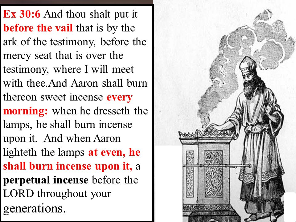 Ex 30:6 And thou shalt put it before the vail that is by the ark of the testimony, before the mercy seat that is over the testimony, where I will meet with thee.And Aaron shall burn thereon sweet incense every morning: when he dresseth the lamps, he shall burn incense upon it.