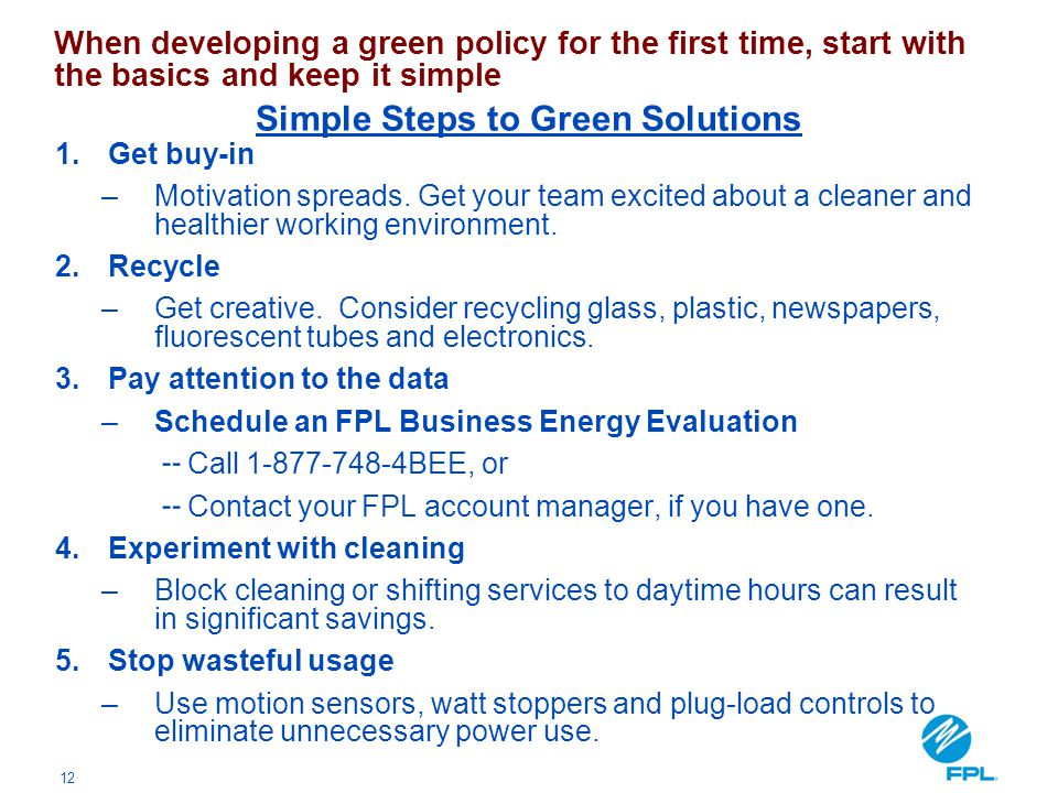 Simple Steps to Green Solutions