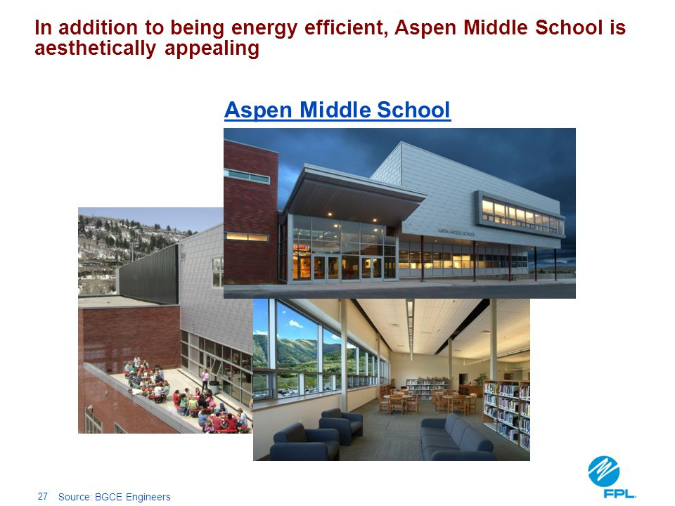 In addition to being energy efficient, Aspen Middle School is aesthetically appealing