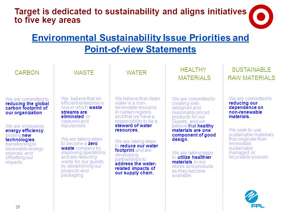 Target is dedicated to sustainability and aligns initiatives