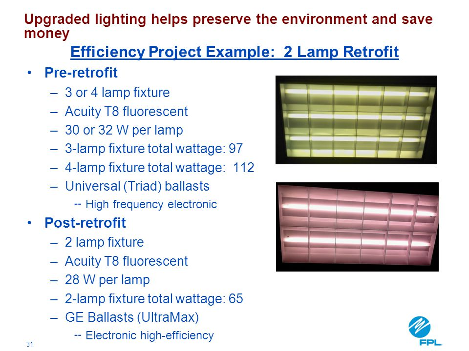 Efficiency Project Example: 2 Lamp Retrofit