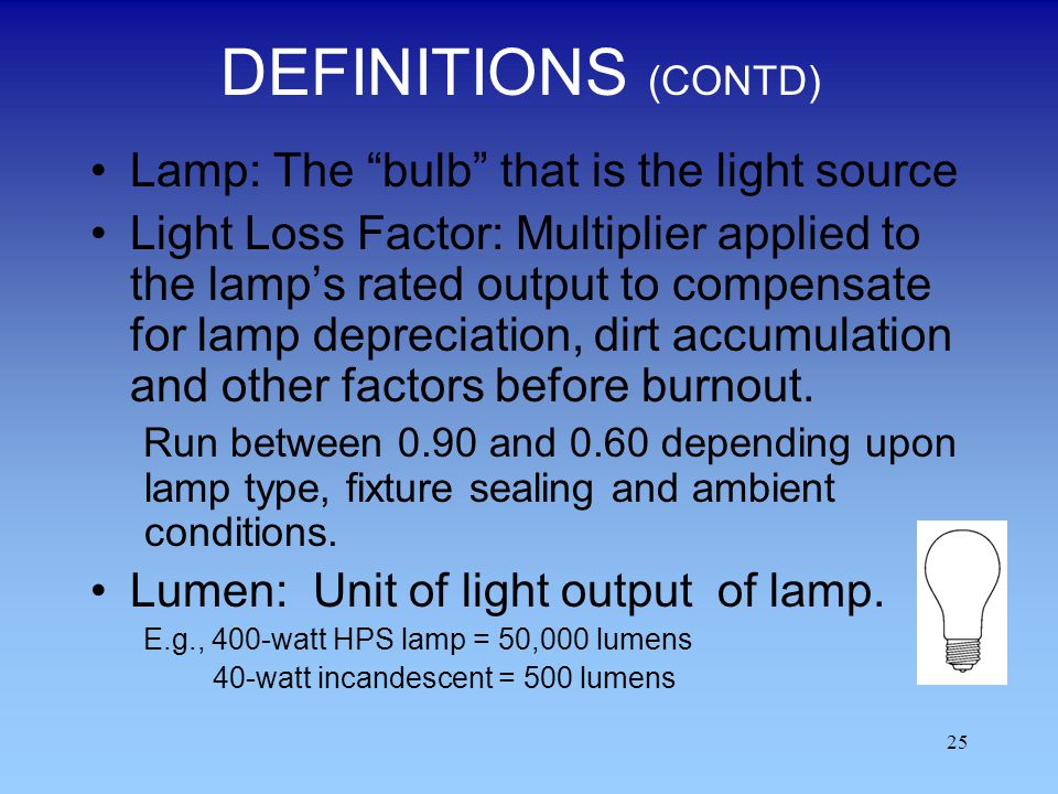 DEFINITIONS (CONTD) Lamp: The bulb that is the light source
