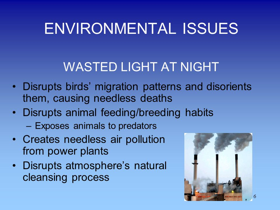 ENVIRONMENTAL ISSUES WASTED LIGHT AT NIGHT