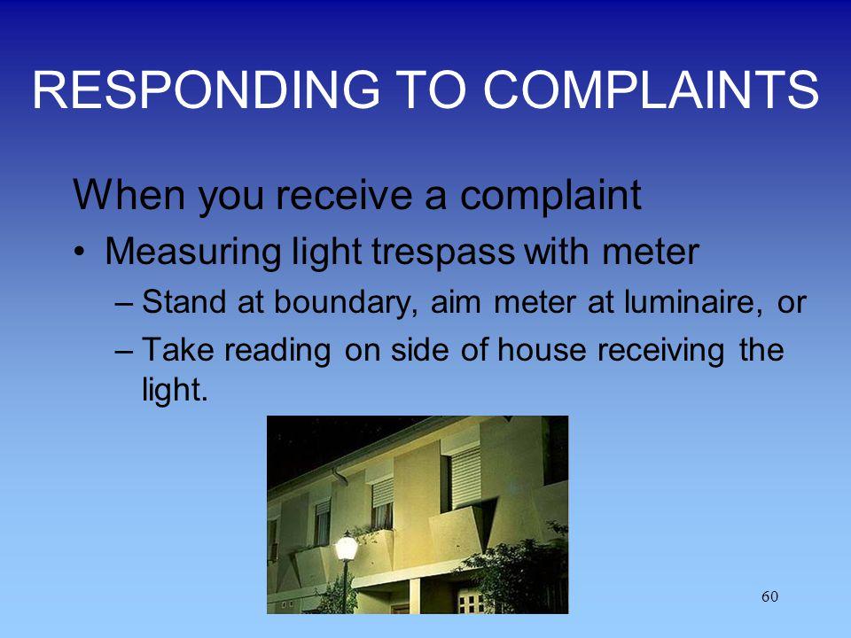 RESPONDING TO COMPLAINTS