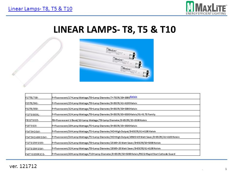Linear Lamps- T8, T5 & T10 Linear Lamps- T8, T5 & T10 ver. 121712