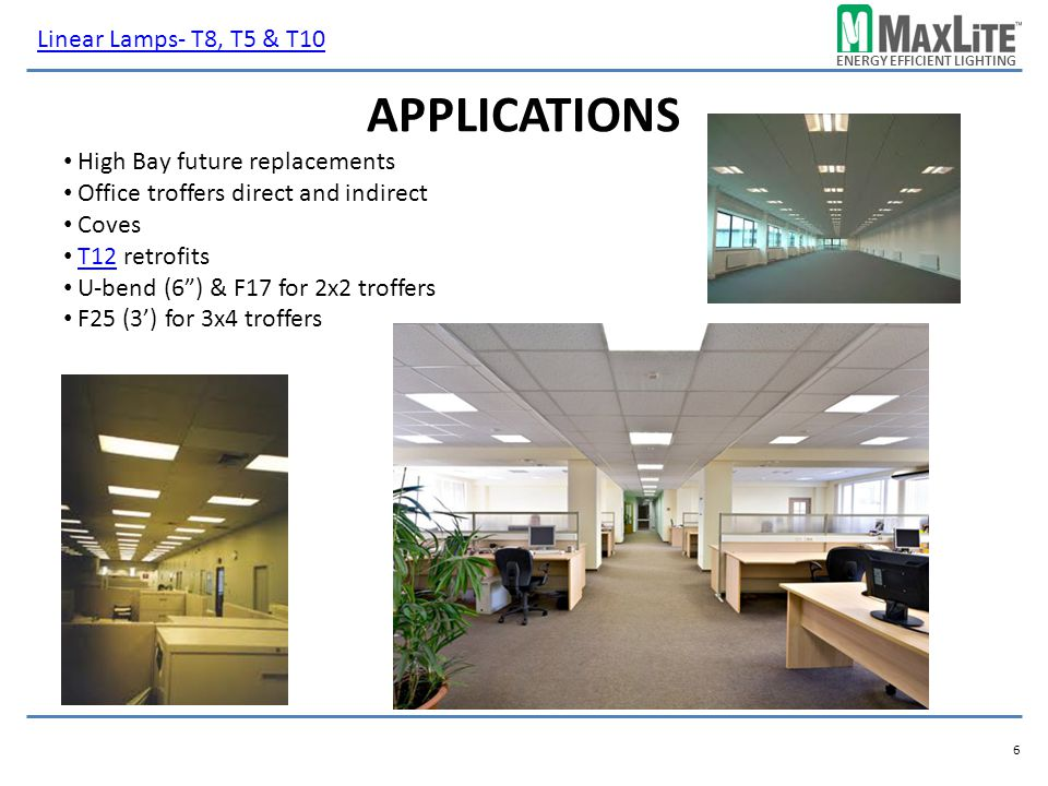 Applications Linear Lamps- T8, T5 & T10 High Bay future replacements
