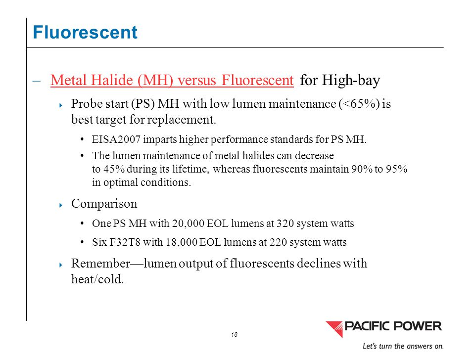 Fluorescent Metal Halide (MH) versus Fluorescent for High-bay