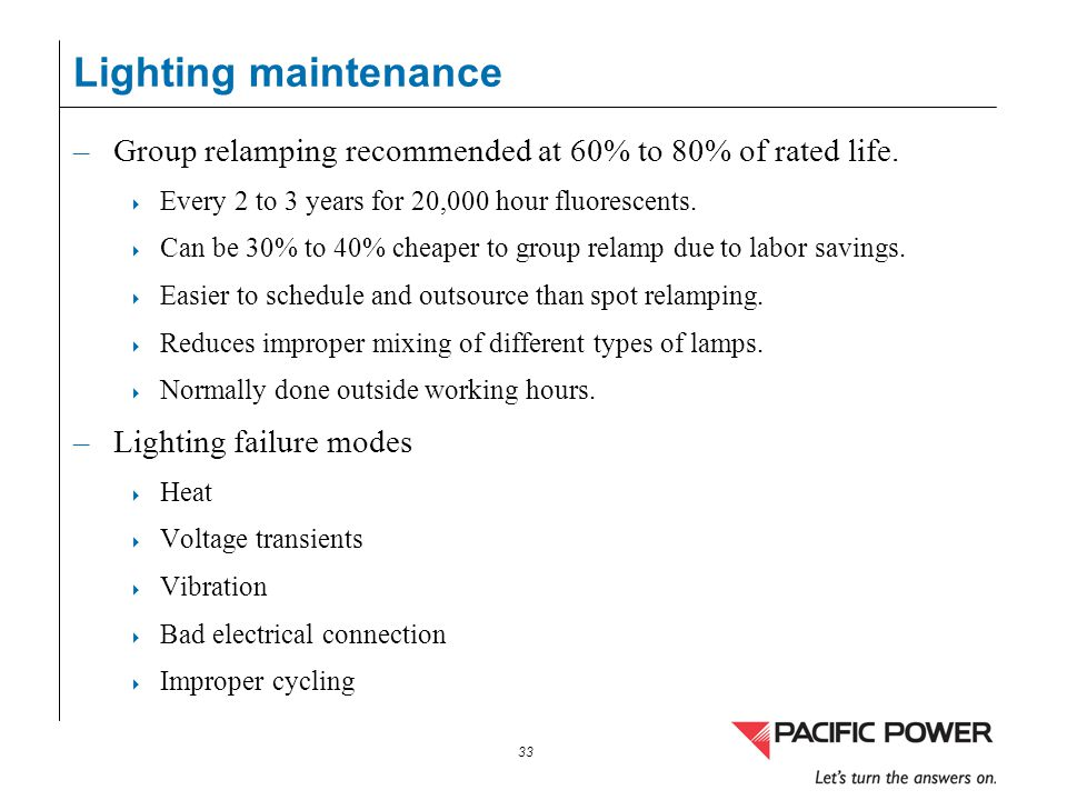 Lighting maintenance Group relamping recommended at 60% to 80% of rated life. Every 2 to 3 years for 20,000 hour fluorescents.