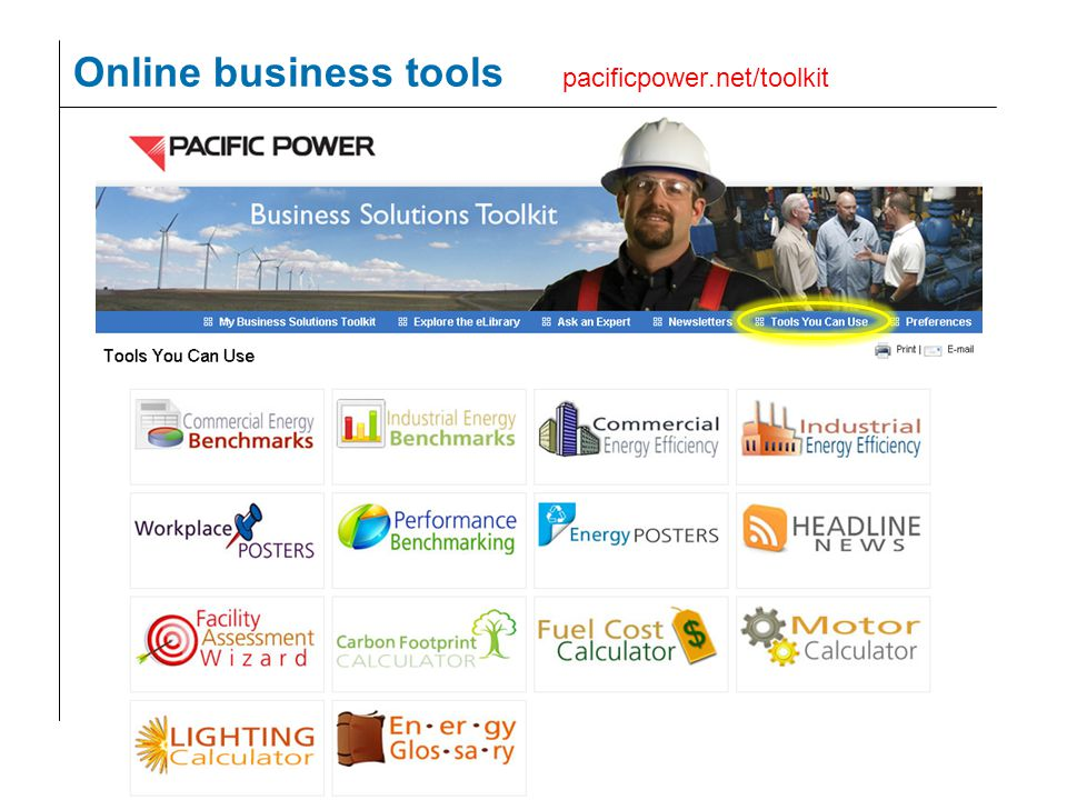 Online business tools pacificpower.net/toolkit