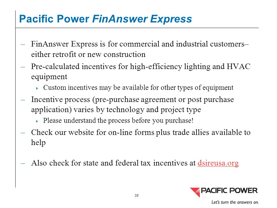 Pacific Power FinAnswer Express