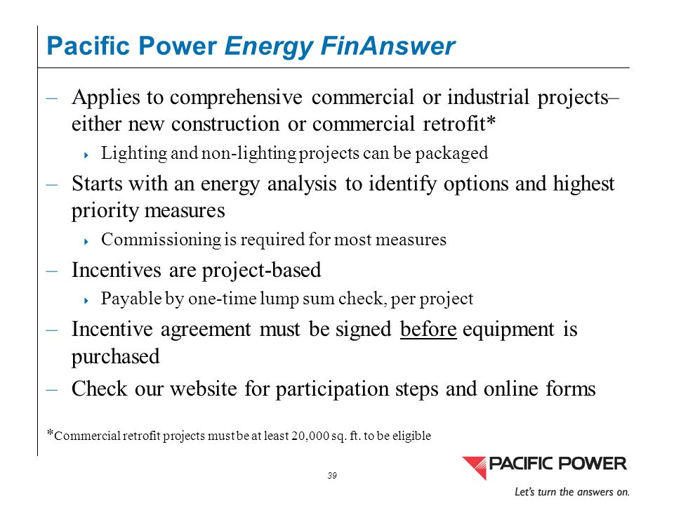 Pacific Power Energy FinAnswer