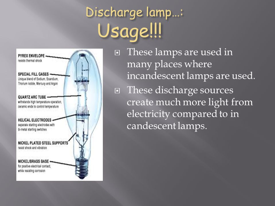 Discharge lamp…: Usage!!!
