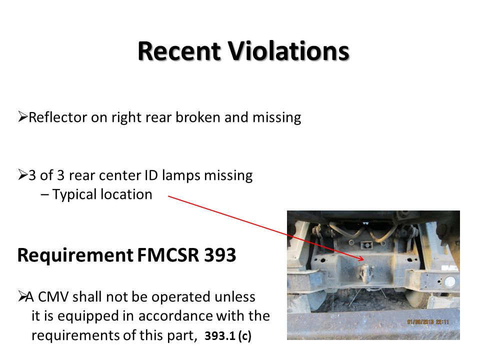 Recent Violations Requirement FMCSR 393