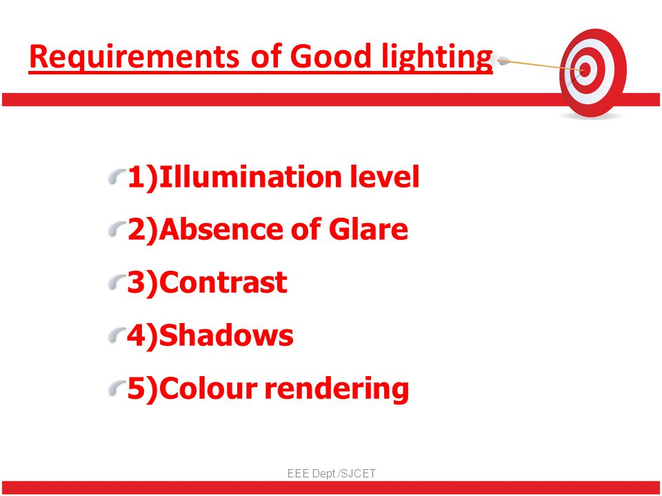 Requirements of Good lighting