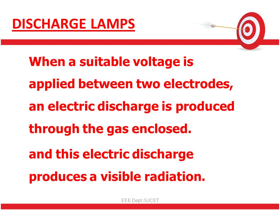 DISCHARGE LAMPS When a suitable voltage is applied between two electrodes, an electric discharge is produced through the gas enclosed.