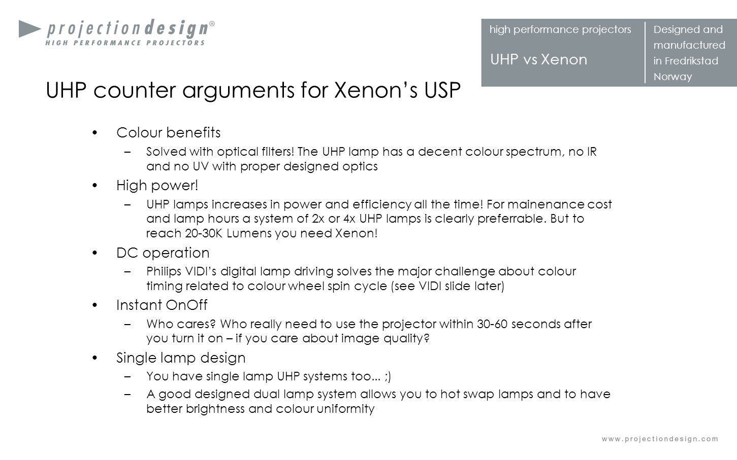 UHP counter arguments for Xenon's USP