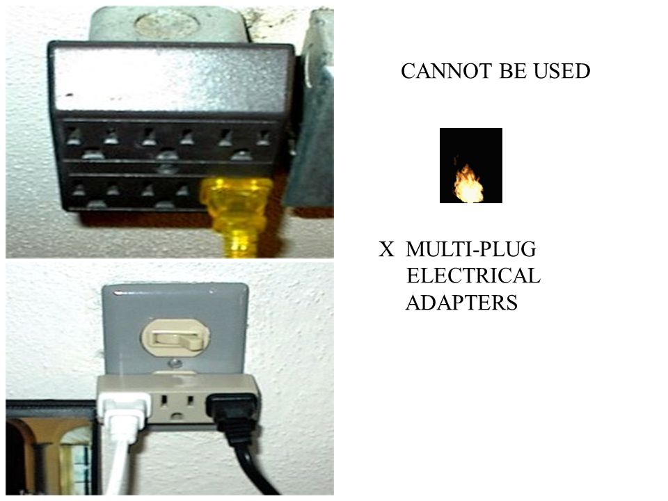 CANNOT BE USED X MULTI-PLUG ELECTRICAL ADAPTERS