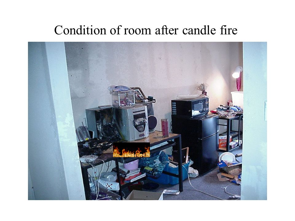 Condition of room after candle fire