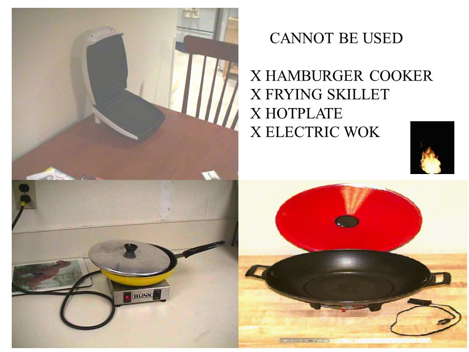 CANNOT BE USED X HAMBURGER COOKER X FRYING SKILLET X HOTPLATE X ELECTRIC WOK