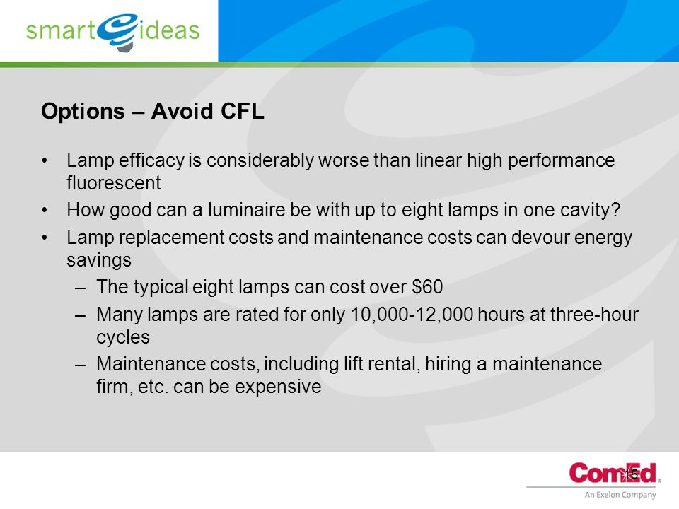 Options – Avoid CFL Lamp efficacy is considerably worse than linear high performance fluorescent.