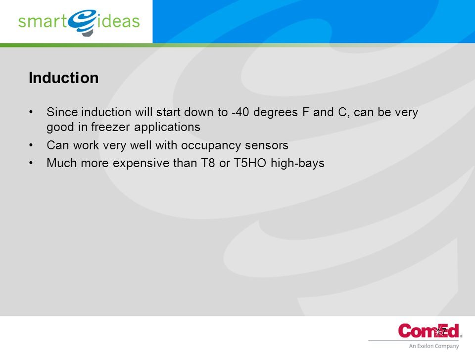 Induction Since induction will start down to -40 degrees F and C, can be very good in freezer applications.