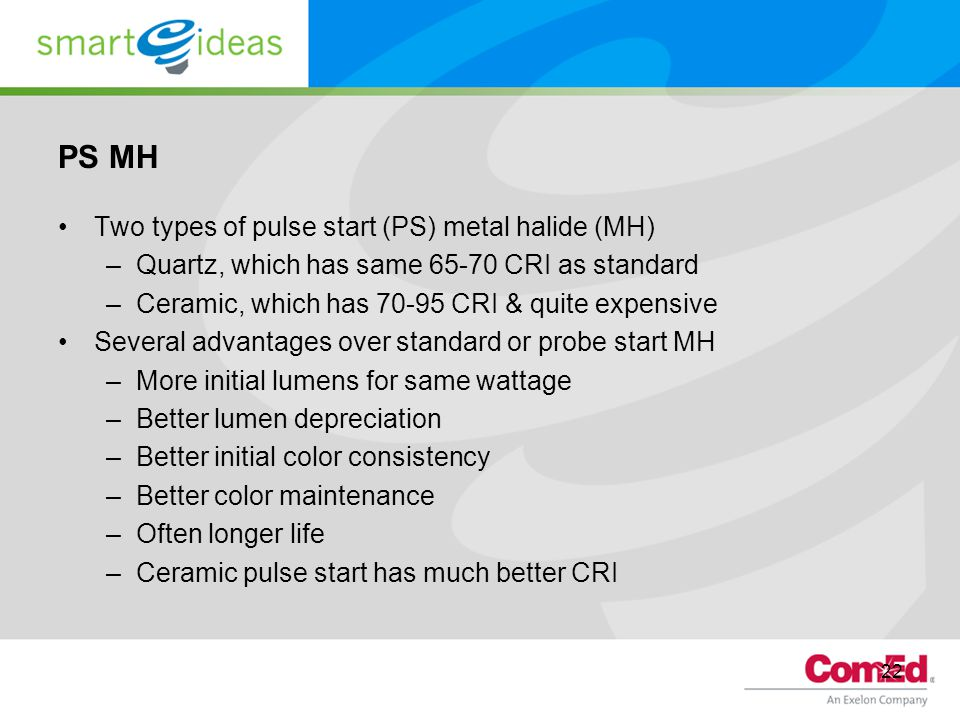 PS MH Two types of pulse start (PS) metal halide (MH)