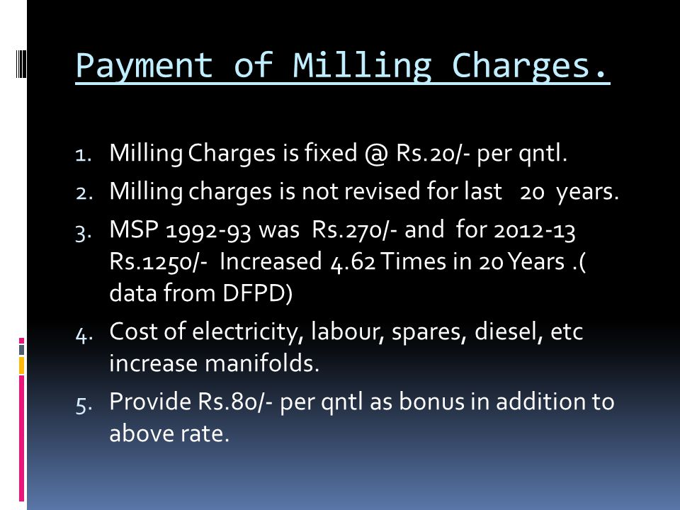 Payment of Milling Charges.