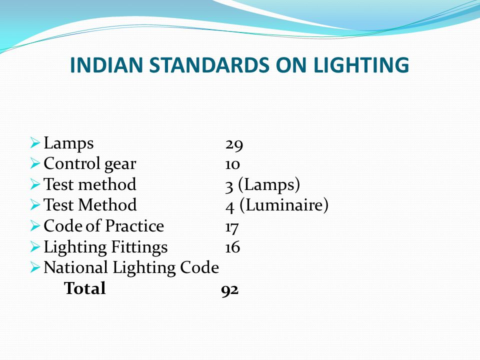 INDIAN STANDARDS ON LIGHTING