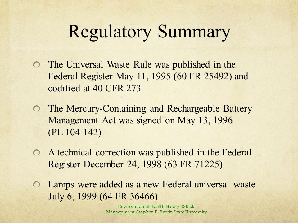 State and Federal Rules