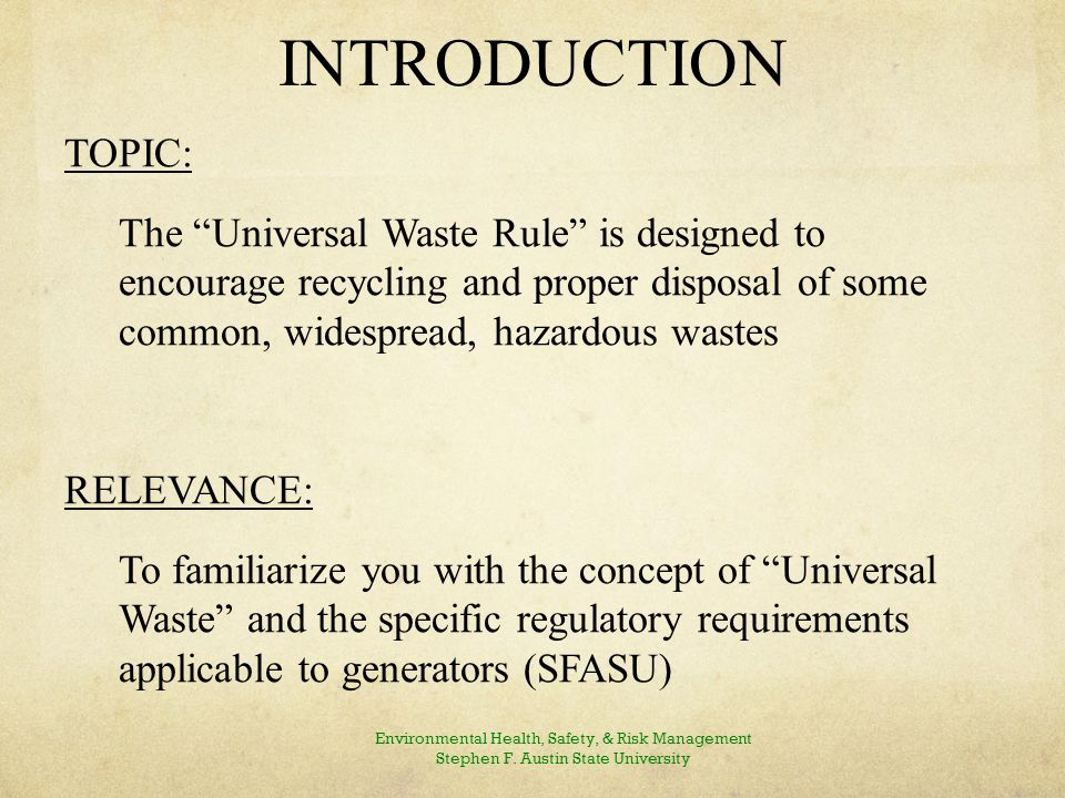 WHAT IS UNIVERSAL WASTE