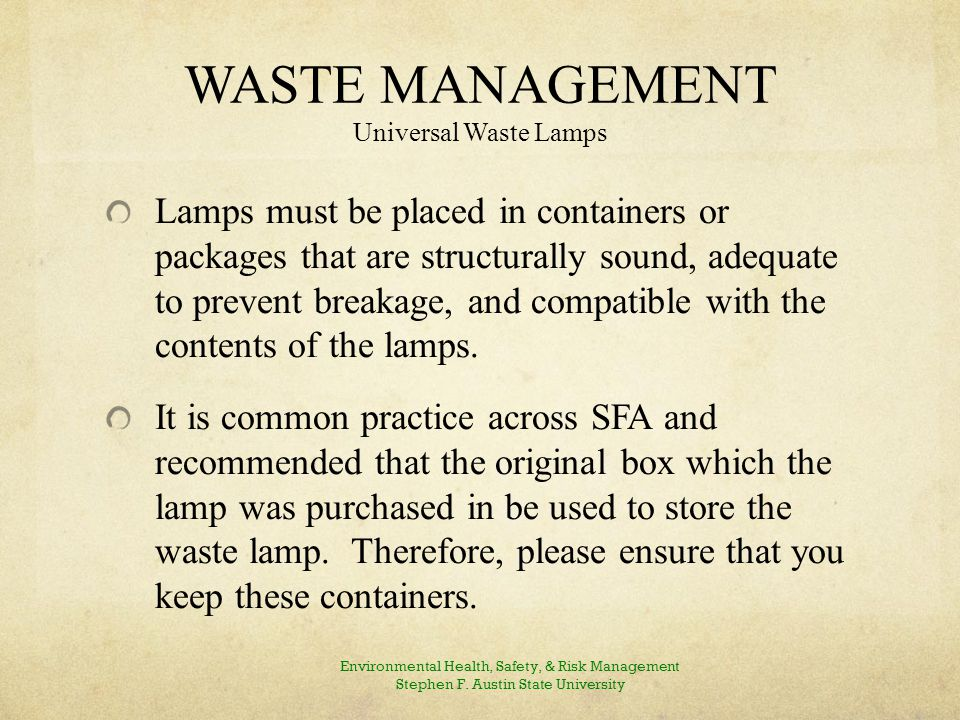 WASTE MANAGEMENT Universal Waste Lamps