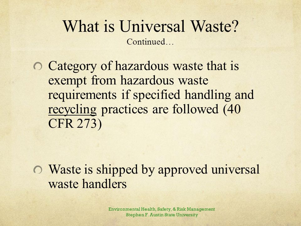 Examples of Universal Waste - Federal