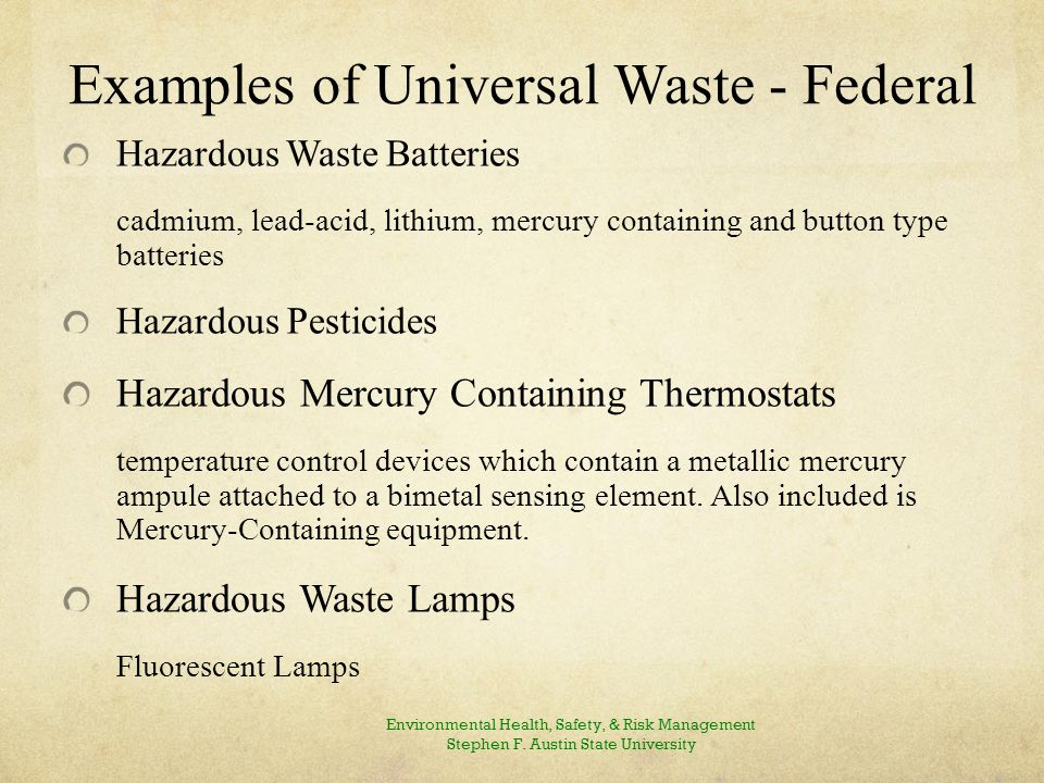 Universal Waste Rule - Overview