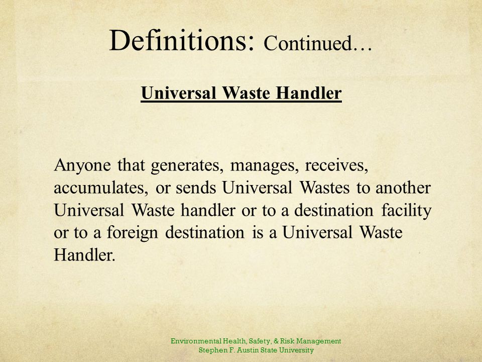 Regulated Community Small Quantity Handlers of Universal Waste (SQHUW) - < 5,000 Kilograms.