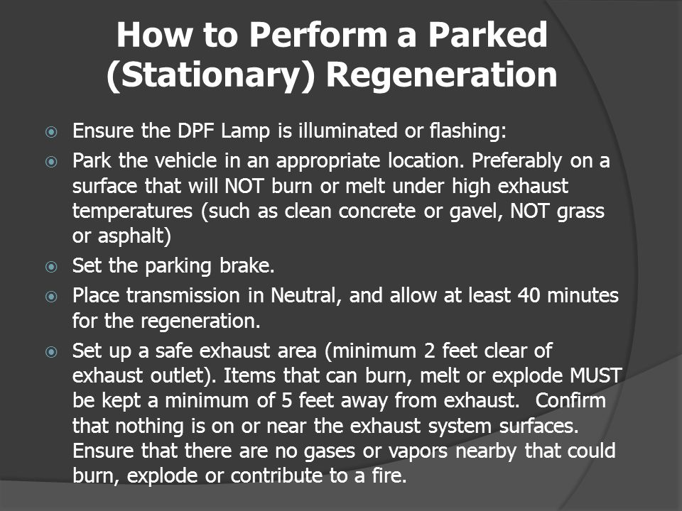 How to Perform a Parked (Stationary) Regeneration