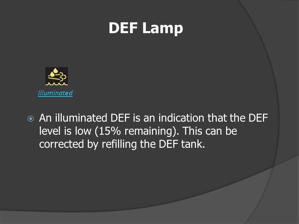 DEF Lamp Illuminated.