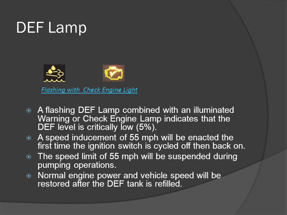 DEF Lamp Flashing with Check Engine Light.