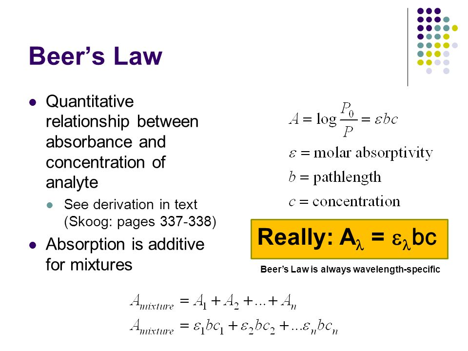 Beer's Law Really: Al = elbc