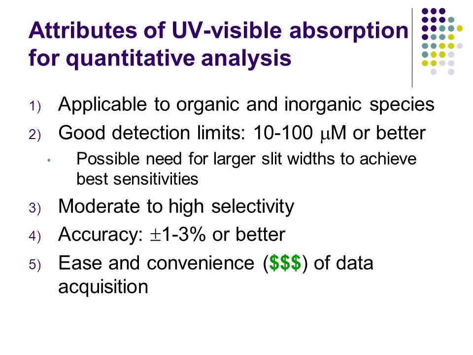 Attributes of UV-visible absorption for quantitative analysis