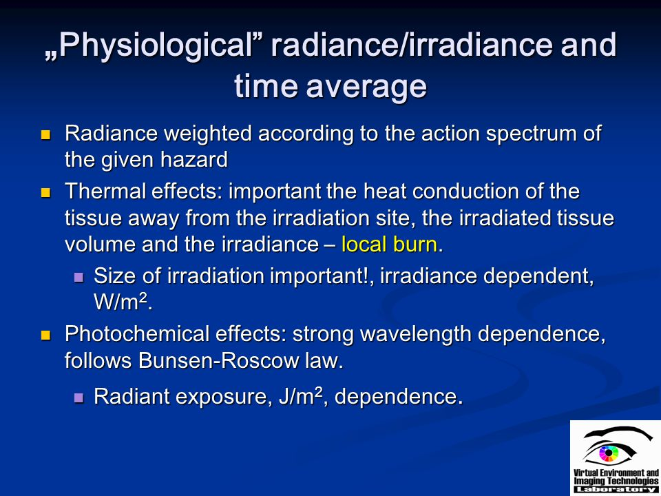 """Physiological radiance/irradiance and time average"
