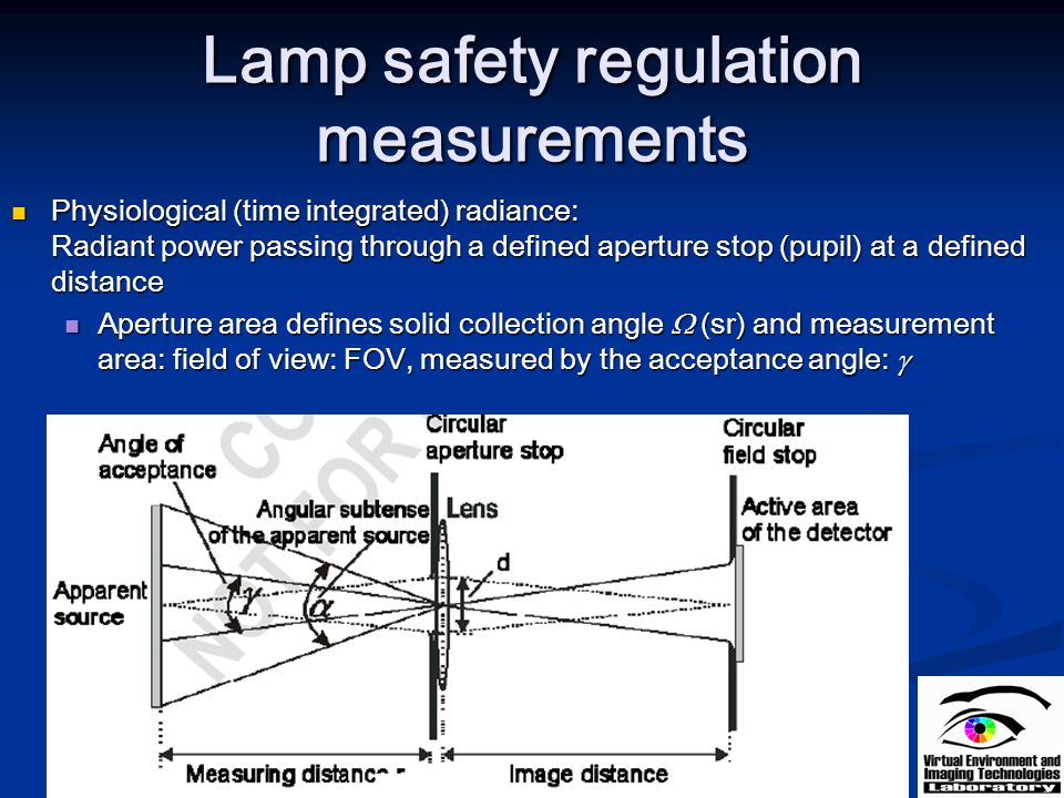 Lamp safety regulation measurements