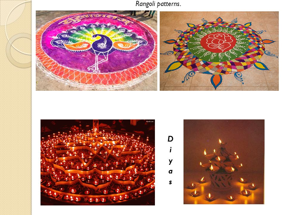 Rangoli patterns. Diyas