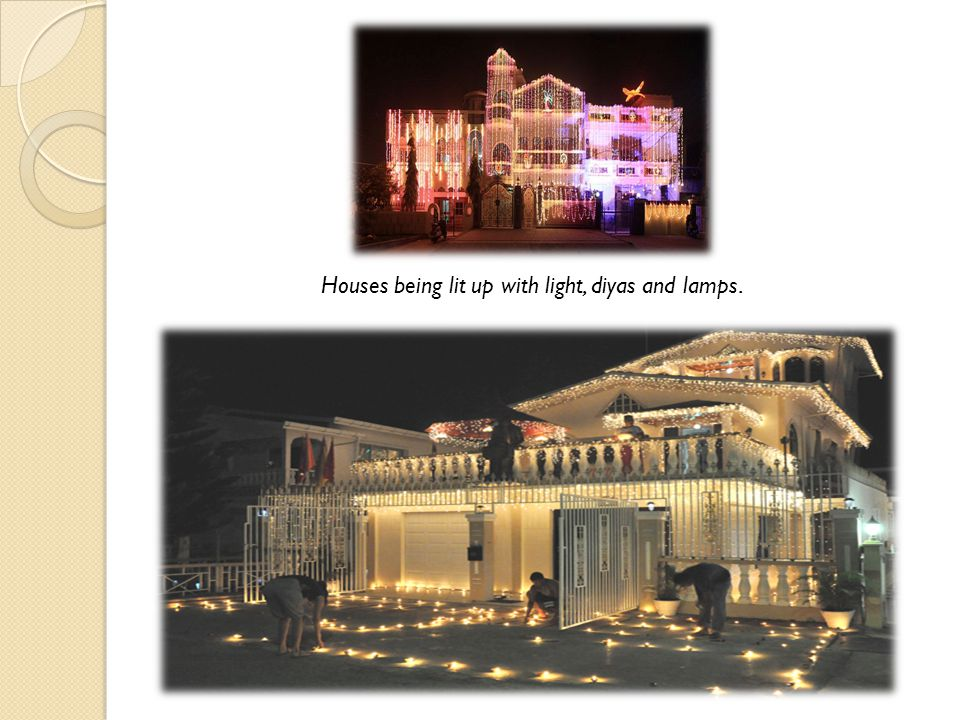 Houses being lit up with light, diyas and lamps.