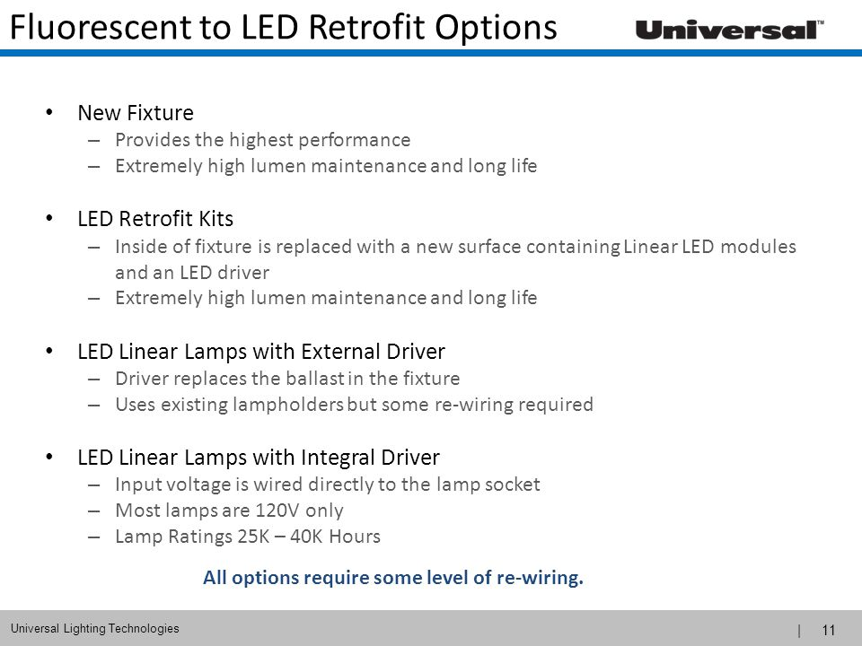 Fluorescent to LED Retrofit Options