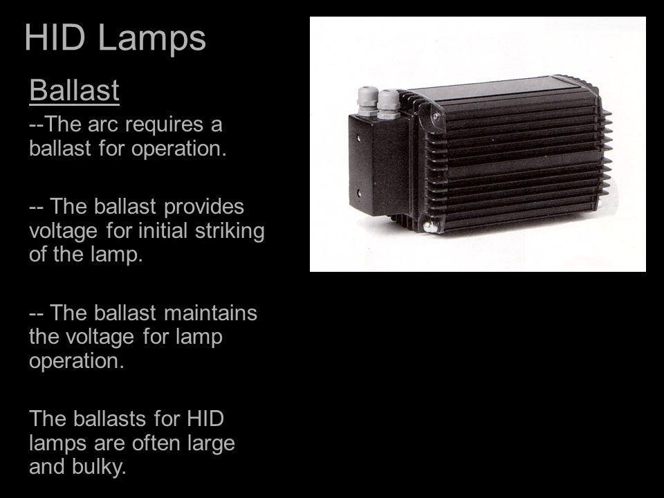 HID Lamps Ballast --The arc requires a ballast for operation.