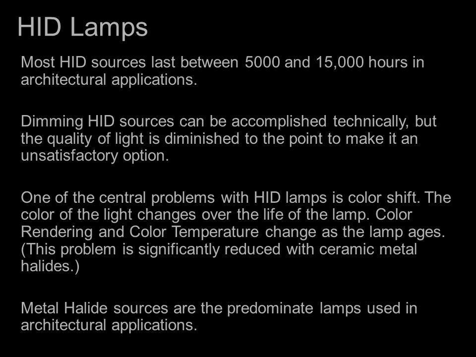HID Lamps Most HID sources last between 5000 and 15,000 hours in architectural applications.