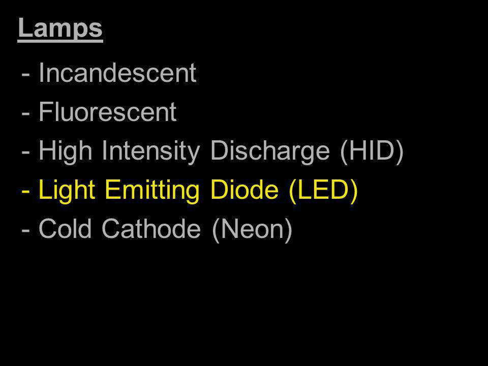 Lamps - Incandescent. - Fluorescent. - High Intensity Discharge (HID) - Light Emitting Diode (LED)