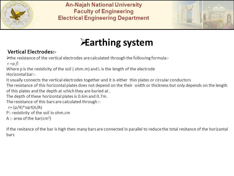 Earthing system Vertical Electrodes:- An-Najah National University